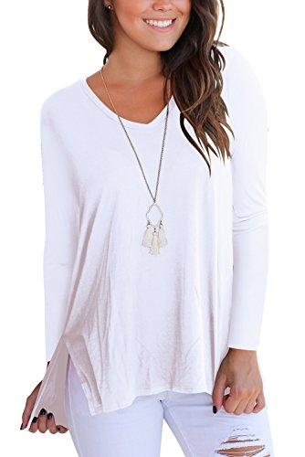 FAVALIVE Women T Shirts Long Sleeve Tee Shirt Casual Loose Tunic Tops Plus Size White 2XL (Womans Tee Long T-shirt Sleeve)