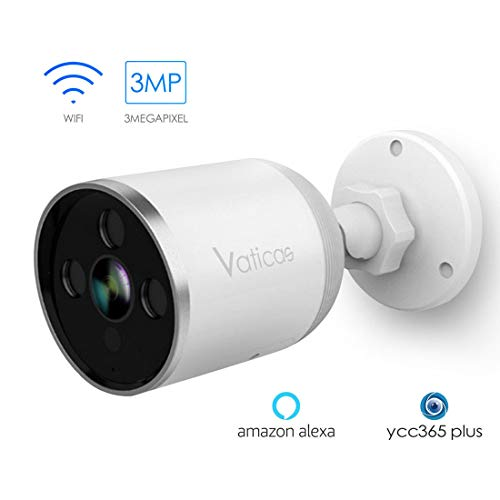 Outdoor Security Camera,Vaticas Smart 3MP WiFi IP Camera,(with 64GB SD Card) with Alexa Voice Control IP66 Waterproof Night Vision Motion Detection 2-Way Audio Remote Access from Smartphone.