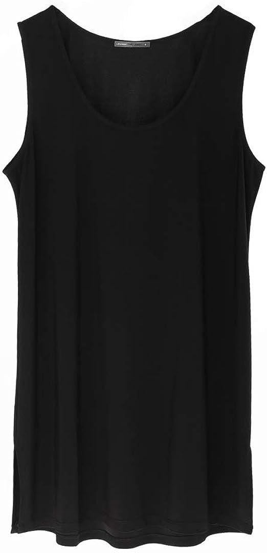 Womens Sleeveless Scoop Neck Plain Hip Length Casual Long Blouse Tunic Top