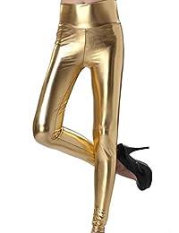 Women's Full Lined Tight Slim Leggings Pants Gold One Size