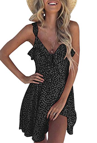 (Uncinba Womens Summer Floral Mini Dress Sexy V Neck Ruffle Sleeveless Strap Cute Casual)