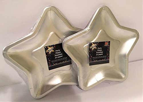 Star Shaped 9.6 Inch Foil Paper Party Plates, Set of 24 - Shaped Plate Set