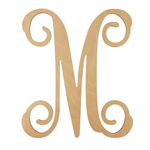 Choose Letter - 48 Hour Monogram Choose Your Letter and Size! - Single Vine Unfinished Letter (M, 20)