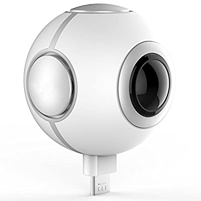 Sysmarts 720° Panoramic VR Camera 360 Degree Dual Spherical Fisheye Lens 1080P HD Capture,VR Live Full View Video Sports Action Wifi Panorama Camera Recorder Remote Control by Android Smartphones.
