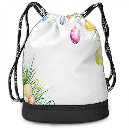 Fashion Gym Gift Printed Drawstring Backpacks Bags,Colorful Baubles On Fir Branches Seasonal Ornaments Christmas Themed Illustration,Adjustable String Closure For Men And Women