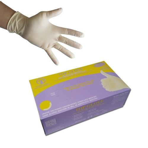 Top Glove White Latex Powder-Free Disposable Gloves - AQL 1.5 - Boxed x100 (Small)