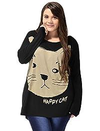 Alya Ladies Plus Size Cat Head Prints Batwing Tunic T-Shirt