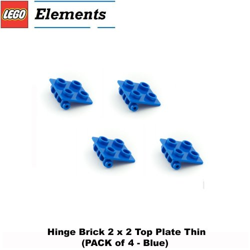 Lego Parts: Hinge Brick 2 x 2 Top Plate Thin (PACK of 4 - Blue)