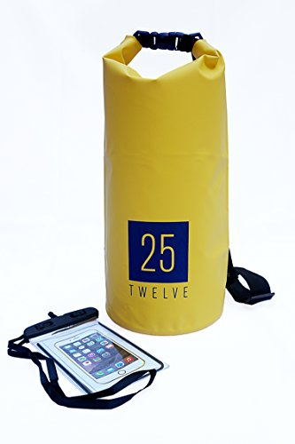 25Twelve Dry Bag - Durable and Waterproof: Best for Camping, Hiking, and All Watersports … (10L, yellow) (Boats Bass Hunter)