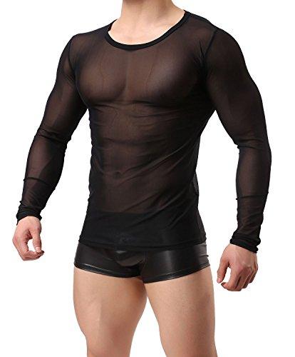 NYK Herren Langarm Shirt transparent Enganliegend Netz Unterhemd Schwarz Neu