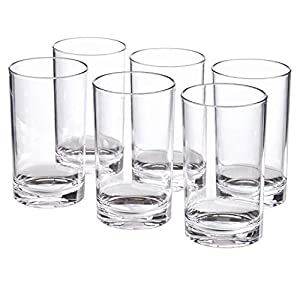Classic 9-ounce Premium Quality Plastic Tumblers | set of 6 Clear