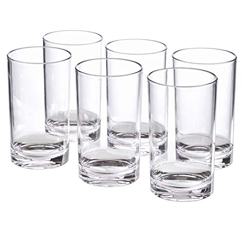 Classic 9-ounce Premium Quality Plastic Tumblers | set of 6 Clear (Plastic Small Glasses)