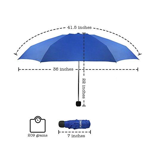 Becko Mini Kids Travel Pocket Umbrella 5-Fold Rain Umbrella with Waterproof Case (Blue) Blau