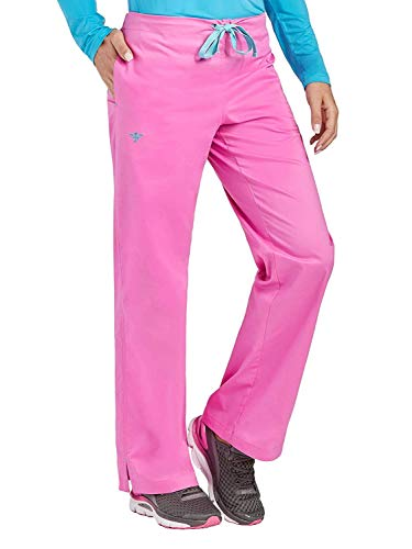 (Med Couture Signature Drawstring Scrub Pants for Women, Lollipop/Turquoise, X-Small)