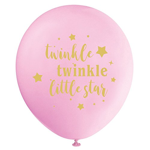 Pink Twinkle Twinkle Little Star Balloons, 12inch (16pcs) Girl Baby Shower or Birthday Party Decorations Supplies