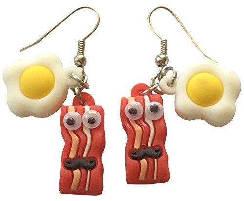 Bacon and Eggs Dangle Earrings