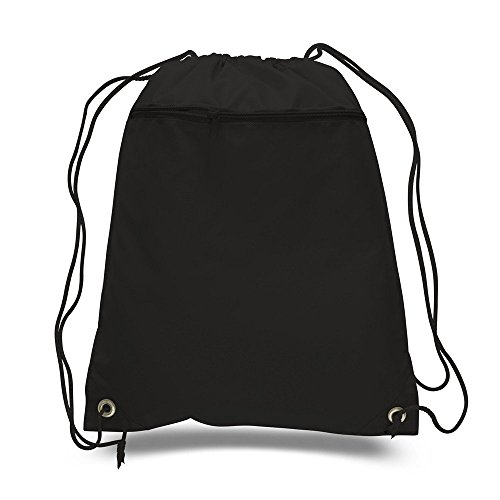 UPC 717959085742, BagzDepot Promotional Durable Polyester Drawstring Bag,Backpack with Front Zippered Pocket for Gym,School or any other activities Wholesale price! (Black)