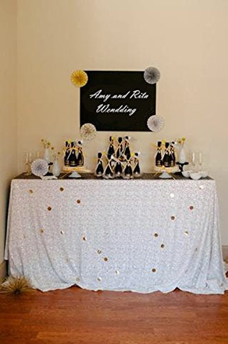 TRLYC 120 Inch Rectangular Sequin Tablecloth