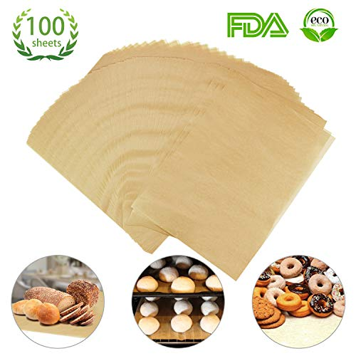 Parchment Paper Cookie Baking Sheets(100Pcs) - Half Sheet Pans - Non-Stick Brown Unbleached - Safe for High Temperature Baking