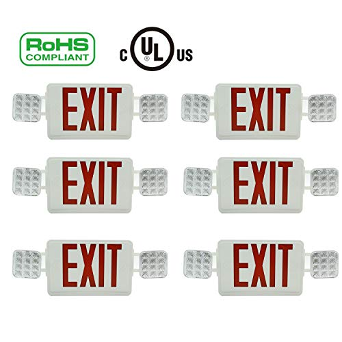 6 PCS-UL Certified - Hardwired Red LED Exit Sign Double Side,Battery Backup,Emergency Fire ()