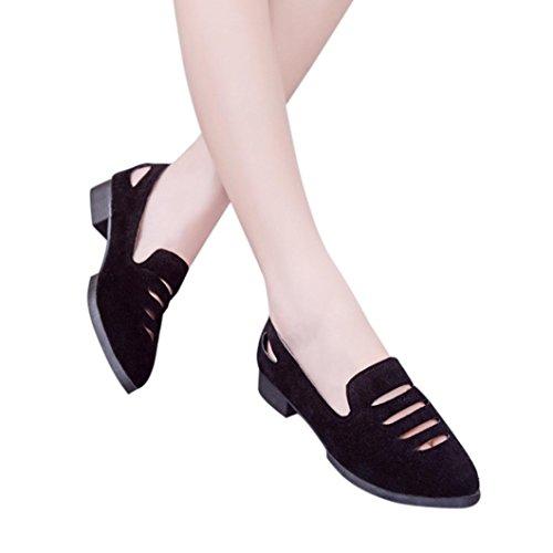 Low Heel Flat Shoes,Women Wedge Sandals Office Shoes Hollow Pointed Toe Wedding Sandals Hemlock (US:7.5, Black)