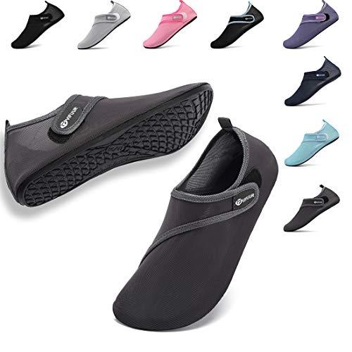 VIFUUR Womens Mens Water Shoes Adjustable Mesh Aqua Socks for Outdoor Swimming Beach Surfing Magic Buckle Dark Grey 38/39