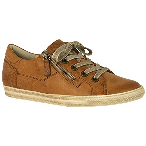 4128 Leather Trainer with Zip Tan