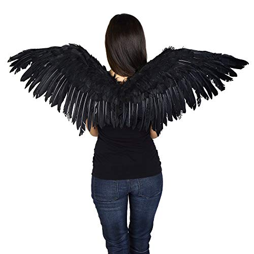 Zucker Feather Products WG55-BL Adult Mockingbird Large Costume-Black Angel Fairy Cosplay Halloween Feather Wing, 16