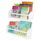Wallniture Lissa Shelf Nursery Baby Room Wood Floating Wall Shelf White Kid's Room Bookshelf Display Decor 17 inch Set of 2