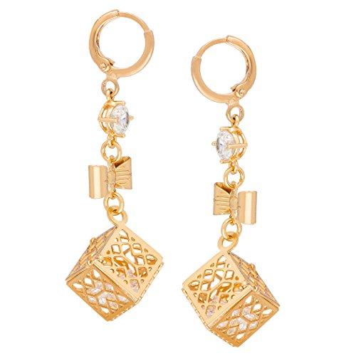 Real Spark(TM) Women Girls 18K Gold Plated Bowknot Cube Clear Rhinestone Pendant Drop Earrings