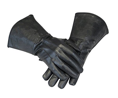 Fencing Black Costume (Leather Gauntlet Gloves Long Arm Cuff (XXL,)