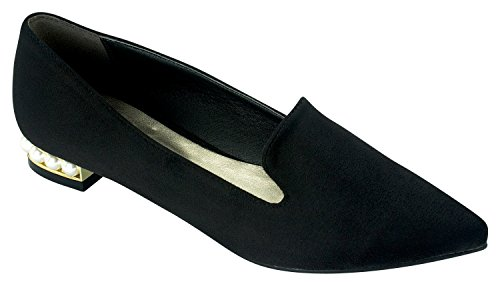 AnnaKastle Womens Pointy Toe Black Loafer Flats with Pearl Heel Black Suede