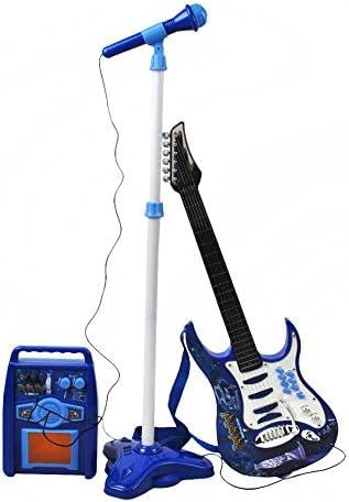 ISO TRADE Juego de Guitarra eléctrica + Amplificador + micrófono con Soporte Azul para niños a Pilas 1554