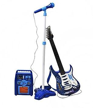 ISO TRADE Juego de Guitarra eléctrica + Amplificador + micrófono con Soporte Azul para niños a Pilas 1554: Amazon.es: Juguetes y juegos