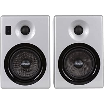 Image of Audio Docks Earthquake Sound IQ52S iPod Docking Speaker System (Silver Piano Gloss, Pair)