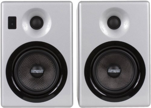 Earthquake Sound IQ52S iPod Docking Speaker System (Silver Piano Gloss, Pair) by Earthquake Sound