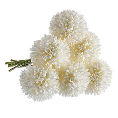 CQURE Artificial Flowers, Fake Flowers Silk Plastic Artificial Hydrangea 6 Heads Bridal Wedding Bouquet for Home Garden Party Wedding Decoration 6Pcs (White)]()