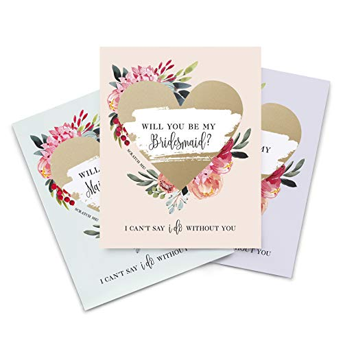Will You Be my Bridesmaid Proposal Scratch Off Wine Labels, Set of 8 Wine Bottle Labels for: Bridesmaid, Maid of Honor & Attendant. I Can't Say I Do Without You - from Bliss Paper Boutique