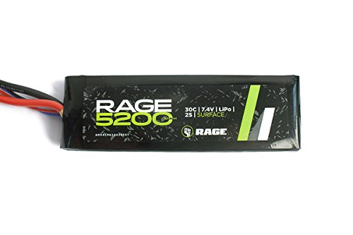 Racers Edge Rage RC 5200 mAh 7.4V 2 Cell LiPo Sport Battery Pack with T-Plug Connector (King Battery Rc)