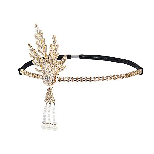 1920's Flapper Headband Great Gatsby Leaf Medallion Pearl Headpiece Bridal Tiara Hair Accessories