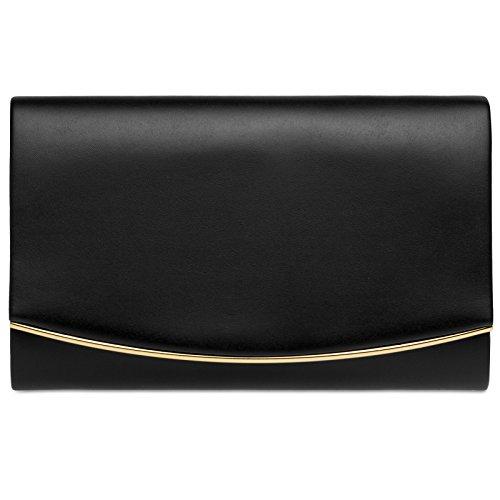 CASPAR TA414 Bolso de Mano Fiesta para Mujer / Clutch Elegante con Cadena Desmontable y Solapa Redonda negro