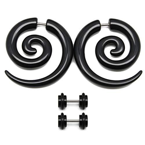 Black Horn Plugs Gauge - FECTAS 16G Fake Gauges Black Tapers Acrylic Spiral Earrings Studs Wild Tribal Dragon Faux Gauge Plugs 2PRS