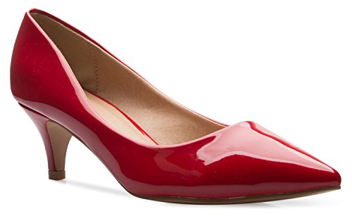 Patent Leather Kitten Heel - OLIVIA K Women's Classic D'Orsay Closed Toe Kitten Heel Pump | Dress, Work, Party Low Heeled Pumps | high Casual Comfortable Sale