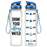 LEADO 32oz 1Liter Motivational Tracking Water Bottle with Time Marker - Drink Your Effing Water - Funny Birthday Gifts for Women, Men, Best Friends, Coworkers, Mom, Dad, Her, Him - Drink More Water