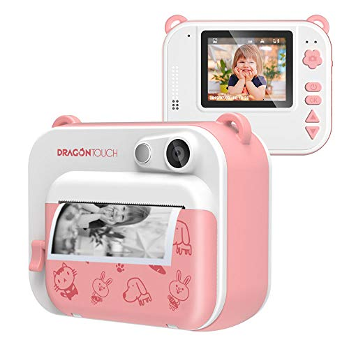 Dragon Touch InstantFun Instant Print Camera for Kids, Zero Ink Toy Camera with Print Paper, Cartoon Sticker, Color Pencils, Portable Digital Creative Print Camera for Boys and Girls – Pink