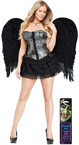 Potomac Banks Bundle: 2 Items - Adult Feather Angel Wings Black and Free Pack of Makeup (Comes with Free How to Live Stress Free Ebook)