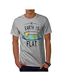 Wellcoda Flat Earth Movement Mens T-Shirt, Space Detailed Design Print Tee