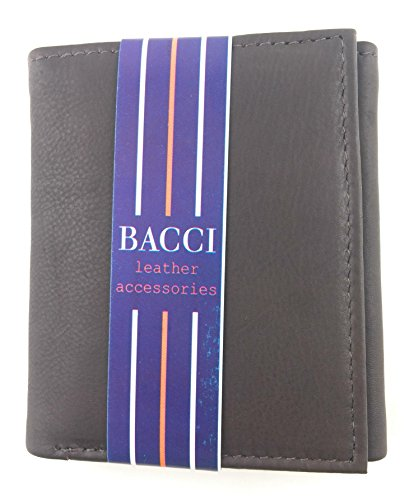 Bacci Mens Antique Cowhide Leather Tri Fold Wallet (Brown)