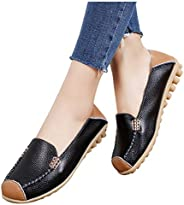 Women's PU Leather Flat Casual Shoes Slip On Patches Color Roman Shoes Comfy Wide Width Work Shoes Non Sli