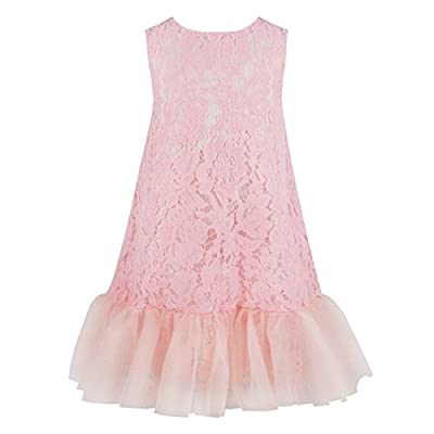 HCABL Girls Lace Dress, Summer Tulle Sleeveless Ruffle Casual Dress Wedding Party 2-12T